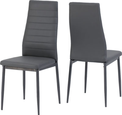 Abbey Dining Set - Clear Glass/Grey/Grey Faux Leather
