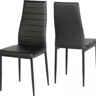 Abbey Chair - Black Faux Leather (Pair)