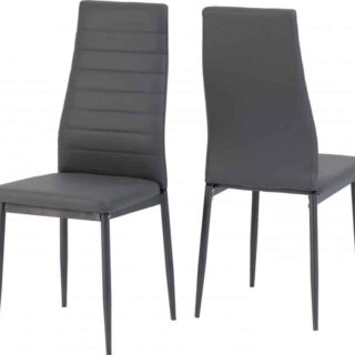 Abbey Chair - Grey Faux Leather (Pair)