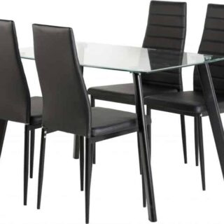 Abbey Small Dining Set - Clear Glass/Black/Black Faux Leather