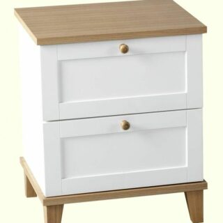 Arcadia 2 Drawer Bedside Chest - White/Ash Effect Veneer