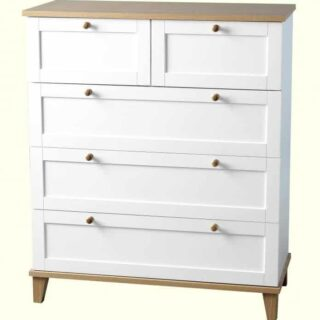 Arcadia 3+2 Drawer Chest - White/Ash Effect Veneer