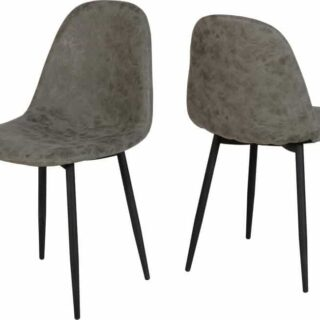 Athens Chairs (2)- Grey Faux Leather