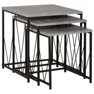 Athens Nest of Tables - Concrete Effect/Black