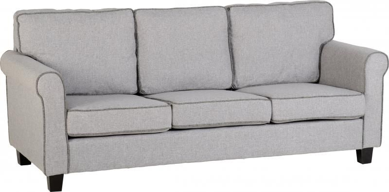Bailey 3 Seater Sofa - Light Grey/Dark Grey Piping