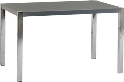 Charisma 4′ Dining Set – Grey Gloss/Chrome/Grey Faux Leather