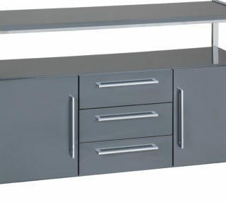 Charisma 2 Door 3 Drawer Sideboard - Grey Gloss/Chrome