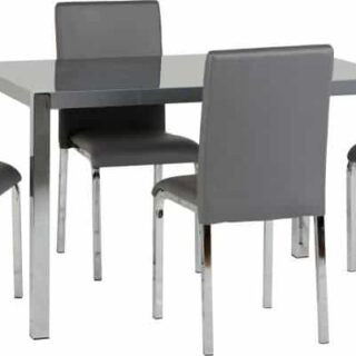 Charisma 4' Dining Set - Grey Gloss/Chrome/Grey Faux Leather