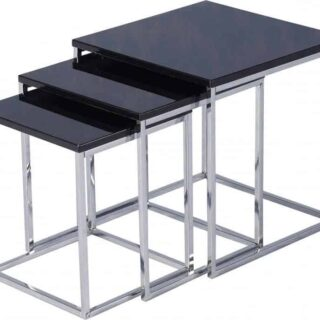 Charisma Nest of Tables - Black Gloss/Chrome