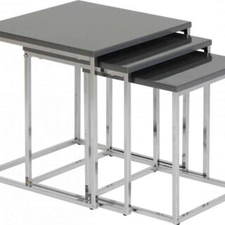 Charisma Nest of Tables - Grey Gloss/Chrome