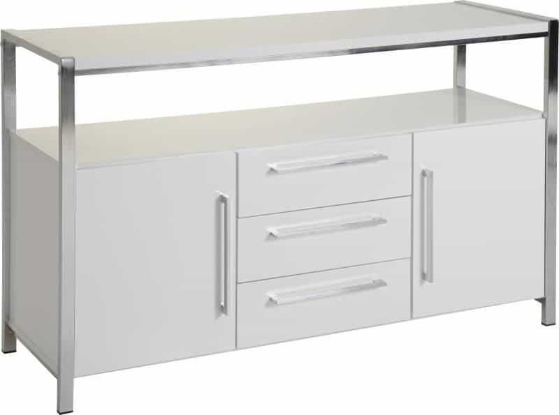 Charisma 2 Door 3 Drawer Sideboard - White Gloss/Chrome