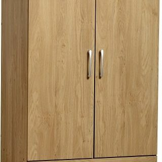 Charles 2 Door 2 Drawer Wardrobe - Oak Effect Veneer with Walnut Trim