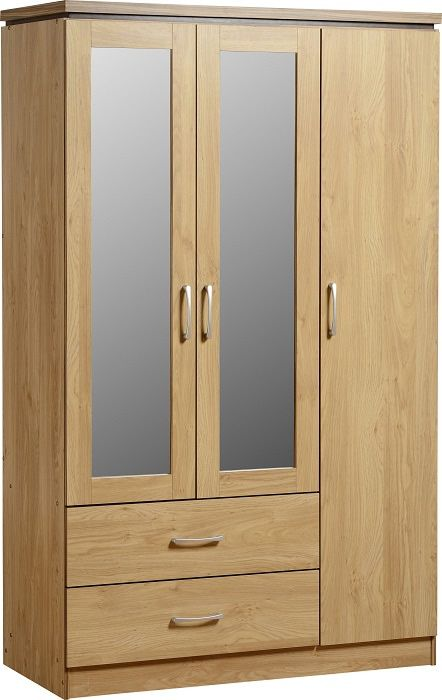Charles 3 Door 2 Drawer Mirrored Wardrobe - Oak Effect Veneer with Walnut Trim
