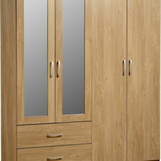 Charles 4 Door 2 Drawer Mirrored Wardrobe - Oak Effect Veneer with Walnut Trim