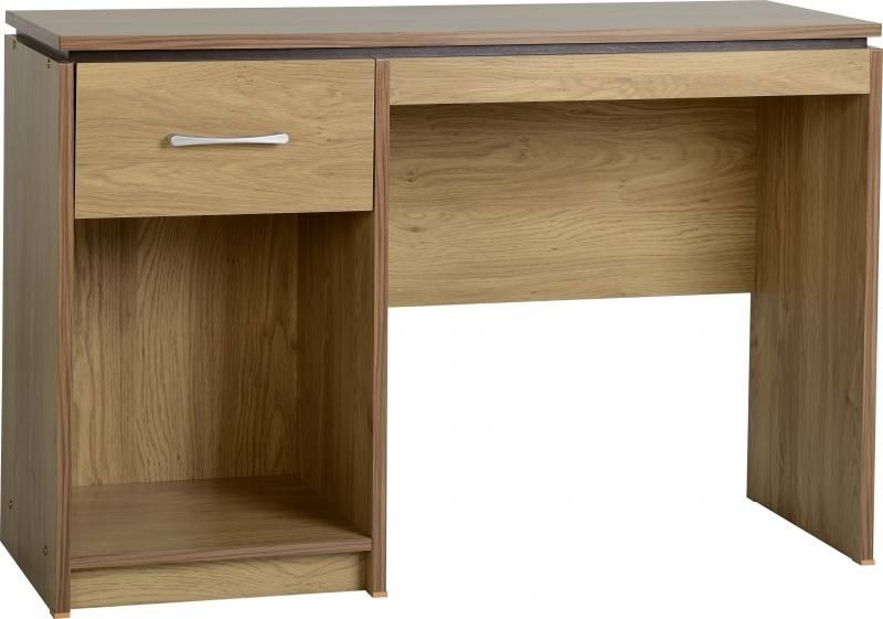 Charles Computer Desk - Oak Effect Veneer with Walnut Trim