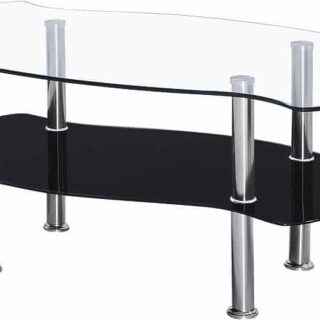 Colby Coffee Table - Clear Glass/Black Glass/Silver