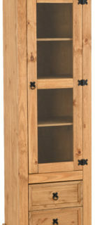 Corona 1 Door 2 Drawer Glass Display Unit - Distressed Waxed Pine/Clear Glass
