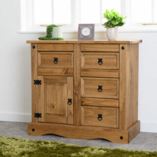 Corona 1 Door 4 Drawer Sideboard - Distressed Waxed Pine