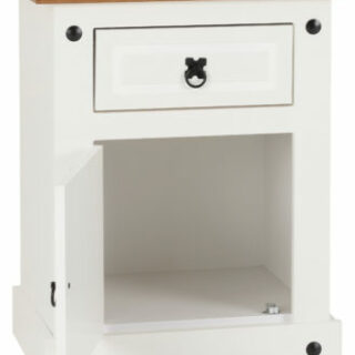Corona 1 Drawer 1 Door Bedside Cabinet - White/Distressed Waxed Pine