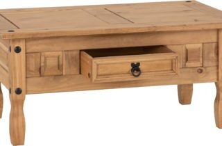 Corona 1 Drawer Coffee Table - Distressed Waxed Pine