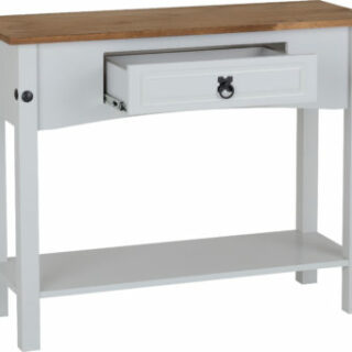 Corona 1 Drawer Console Table with Shelf - Grey/Distressed Waxed Pine