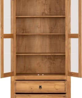 Corona 2 Door 2 Drawer Glass Display Unit - Distressed Waxed Pine/Clear Glass