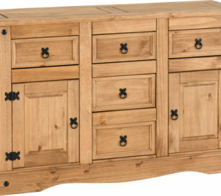 Corona 2 Door 5 Drawer Sideboard - Distressed Waxed Pine