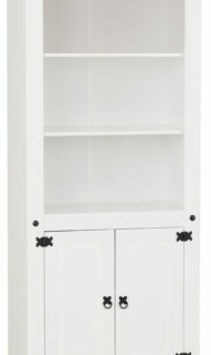 Corona 2 Door Display Unit/Bookcase - White/Distressed Waxed Pine