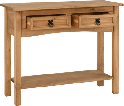 Corona 2 Drawer Console Table with Shelf - Distressed Waxed Pine