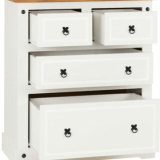 Corona 2+2 Drawer Chest - White/Distressed Waxed Pine