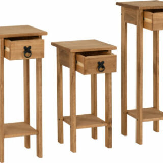 Corona Plant Stands (Set of 3) - Distressed Waxed Pine