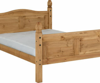 Corona 4'6 Bed High Foot End - Distressed Waxed Pine