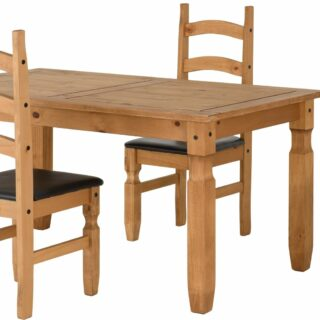 Corona 5' Dining Set - Distressed Waxed Pine/Brown Faux Leather