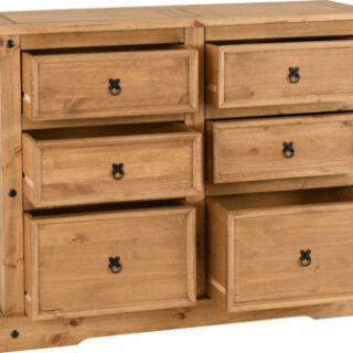Corona 6 Drawer Chest - Distressed Waxed Pine