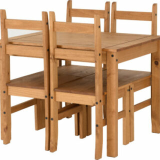 Corona Budget Dining Set - Distressed Waxed Pine