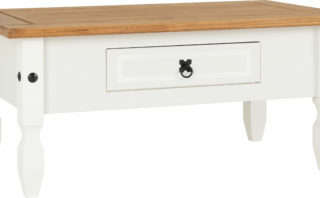 Corona 1 Drawer Coffee Table - White/Distressed Waxed Pine