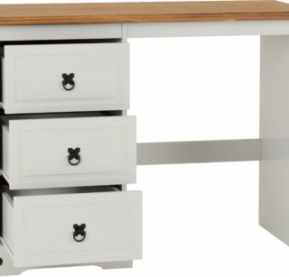 Corona 3 Drawer Dressing Table - Grey/Distressed Waxed Pine