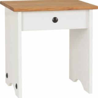 Corona Dressing Table Stool - White/Distressed Waxed Pine