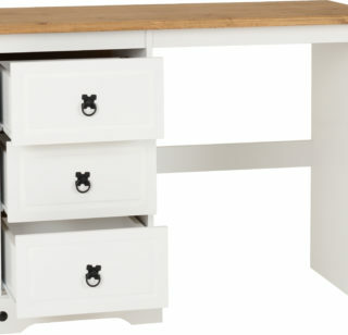 Corona 3 Drawer Dressing Table - White/Distressed Waxed Pine