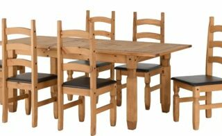 Corona Extending Dining Set (1+6) - Distressed Waxed Pine/Brown Faux Leather