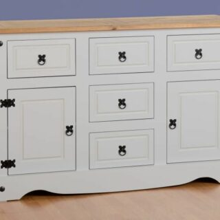 Corona 2 Door 5 Drawer Sideboard - Grey/Distressed Waxed Pine