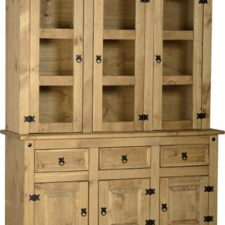 Corona 4'6 Buffet Hutch - Distressed Waxed Pine/Clear Glass