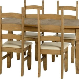 Corona 5' Dining Set - Distressed Waxed Pine/Cream Faux Leather