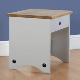 Corona Dressing Table Stool - Grey/Distressed Waxed Pine