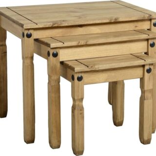 Corona Nest Of Tables - Distressed Waxed Pine