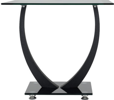 Hanley Lamp Table - Clear Glass/Black Border/Black Glass/Black