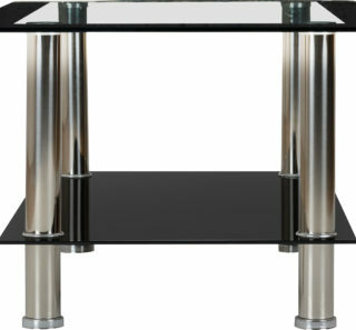 Harlequin Coffee Table - Clear Glass/Black Border/Black Glass/Silver