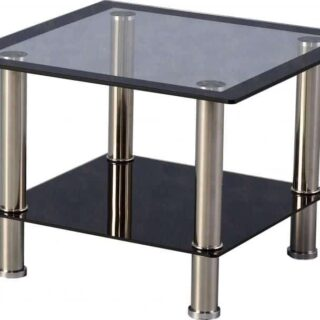 Harlequin Lamp Table - Clear Glass/Black Border/Black Glass/Silver