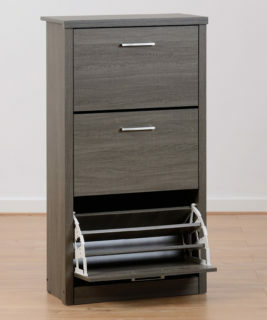 Lisbon Shoe Cabinet - Black Wood Grain