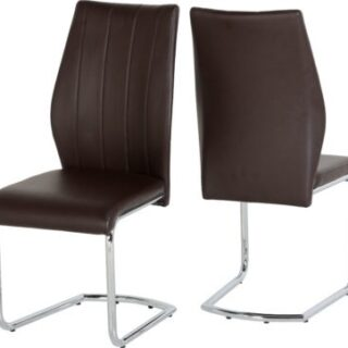 Milan Chair - Brown Faux Leather/Chrome